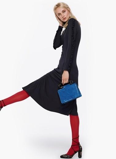 Twist Fırfır Kol Geçişli Tek Yırtmaçlı Elbise Lacivert